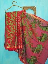 Bright Red And Green Benarsi Net Saree - KAASI
