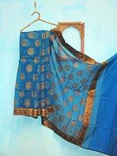 Blue And Golden Benarsi Net Saree - KAASI