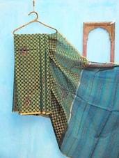 Sea Green And Dull Yellow Benarsi Net Saree - KAASI