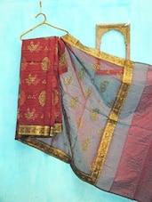 Maroon And Golden Benarsi Net Saree - KAASI