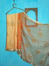 Peach And Orange Benarsi Net Saree - KAASI