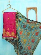 Turquoise Blue And Purple Floral Benarsi Net Saree - KAASI