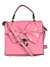 Pink Cute Bow Sling Bag Cum Tote Bag - K22