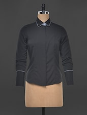 Solid Black Poly Crepe Formal Shirt - Kaaryah