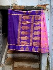Pink And Blue Jacquard Saree - BANARASI STYLE