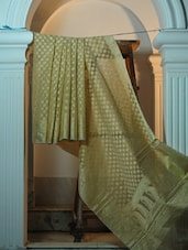 Dusty Gold Cotton Net Benarasi Saree - BANARASI STYLE