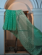 Sea Green Cotton Net Benarasi Saree - BANARASI STYLE