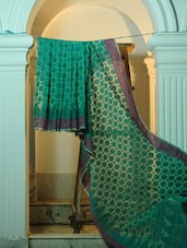 Green Cotton Net Benarasi Saree With A Purple Border - BANARASI STYLE
