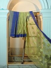 Gold And Blue Pure Net Benarasi Saree - BANARASI STYLE