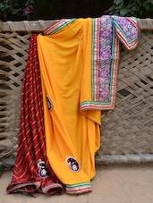Yellow And Maroon Embellished Saree - Desiblush
