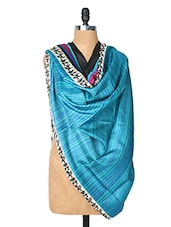 Blue Dupatta With Warli Print On The Border - Dupatta Bazaar