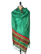 Green Dupatta With Red And Yellow Border - Dupatta Bazaar