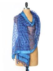 Blue Checks Woven Cotton Dupatta - Dupatta Bazaar