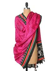 Pink Printed Silk Dupatta - Dupatta Bazaar