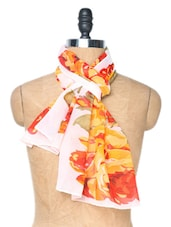 White And Red Floral Printed Stole - Dupatta Bazaar