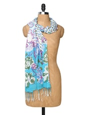 White And Sky Blue Floral Print Scarf - Dupatta Bazaar