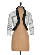 White And Black Polka-Dotted Shrug - Golden Couture