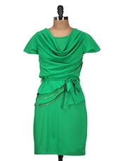 Solid Green Dress With Front Gathering - QUEST