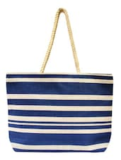 Blue And White Striped Tote - ANGES BAGS