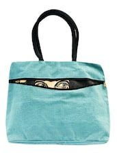Bright Blue Tote With Front Zipper - ANGES BAGS