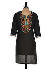 Solid Black Kurta With Multi-coloured Embroidery - Sohniye