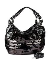 Glossy Black Hand Bag Cum Sling Bag - Lalana