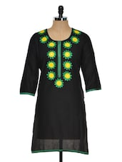 Solid Black Kurti With Embroidered Yoke - RIYA