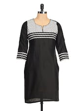Black Kurti With A White Yoke - RIYA