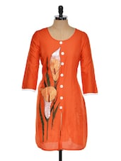 Bright Orange Kurti With Front Slit - RIYA