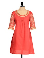 Red Kurta With Golden Embroidered Sleeves - RIYA
