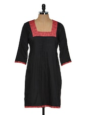 Solid Black Kurti With Square Neck - RIYA