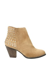 Beige Boots Embellished With Metal Studs - COBBLERZ