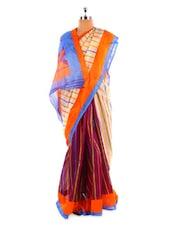 Beige And Wine Bhagalpuri Silk Saree - Fabdeal