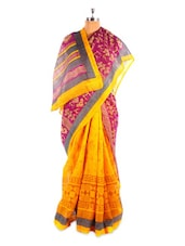 Yellow And Purple Bhagalpuri Silk Saree - Fabdeal