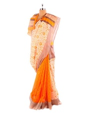 Orange And White Bhagalpuri Silk Saree - Fabdeal