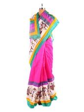 Pink Bhagalpuri Silk Printed Saree - Fabdeal