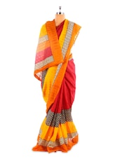 Yellow And Red Bhagalpuri Silk Saree - Fabdeal