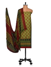 Lime Green And Orange Unstitched Salwar Suit With Dupatta - Fabdeal