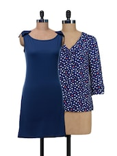 Set Of One Heart-print Top And Solid Blue Dress - @ 499