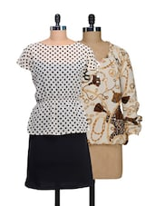 Set Of Off-white Printed Top And Monochrome Polka-dotted Dress - @ 499