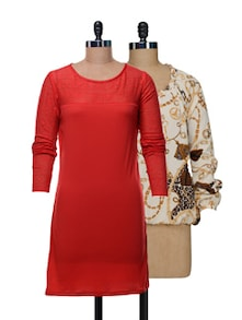 Set Of Off-white Printed Top And Solid Red Dress - @ 499