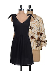 Set Of Off-white Printed Top And Solid Black Dress - @ 499