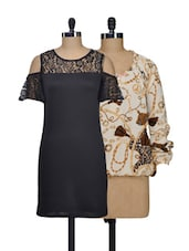 Set Of Off-white Printed Top And Solid Black Lacy Dress - @ 499