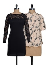 Bats And Lace Top And Dress Set - @ 499