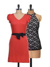 Set Of Cute Red Dress And Black Halter Neck Top - @ 499