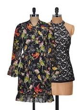 Set Of Black Printed Dress And Black Halter Neck Top - @ 499