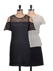 Set Of Polka Dotted Dress And Solid Black Dress - @ 499