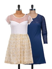 Set Of Solid Blue And White And Gold Dress - @ 499