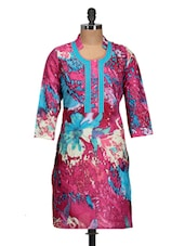 Pink And Blue Floral Print Kurti - M MERI