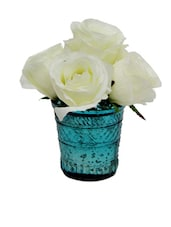 Artificial White Roses In A Blue Glass Votive - Gifts By Meeta